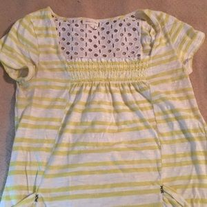 Anthropology yellow and white striped top